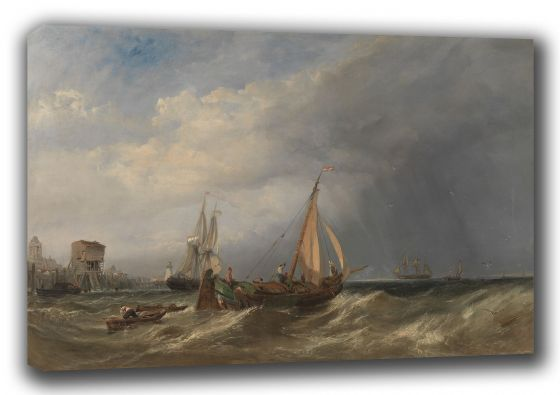 Stanfield, (William) Clarkson Frederick: A Dutch Barge and Merchantmen Running out of Rotterdam. Fine Art Canvas. Sizes: A3/A2/A1 (003475)